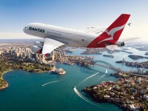 Quantas Airlines over Sydney